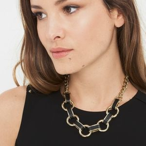 NWT Black Leather and Gold Link Necklace